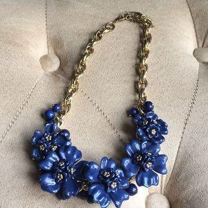 Blue flowered statement necklace